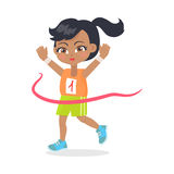 Running Girl with Black Hair Crosses Finish Line. Running girl crosses finish line. Female teenage with ponytail wearing orange t-shirt and green shorts. Black Royalty Free Stock Image