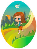 Running girl on the city background. Running girl with bird on the city and sun background Stock Photography