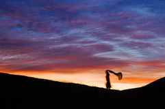 The running girl in dusk Royalty Free Stock Images