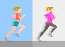Running girl. Everyday trainings. Running girl dressed in seasonal clothes, on blue background and on gray background. Motion effect. Sports and healthy Royalty Free Stock Image
