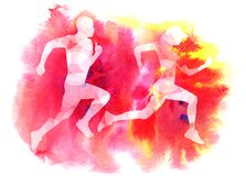 Running girl and man on the background royalty free illustration