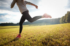 Running girl in nature Royalty Free Stock Images