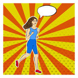 Running girl in pop-art style. Dotted, rays, pop art background pin-up pattern. Comic speech, thought bubble. Comic woman Royalty Free Stock Images
