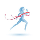 Running girl with ribbon Stock Images