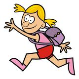 Running girl with satchel, vector funny illustration. Single person with school bag. Running kid to school vector illustration