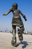 Running. A girl sculpture movement in the future Royalty Free Stock Image