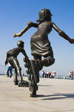 Running. A girl sculpture movement in the future Royalty Free Stock Photography