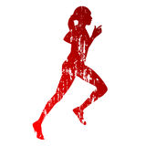 Running girl silhouette Royalty Free Stock Photography
