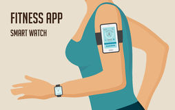 Running girl with a smartphone attached to the shoulder. Sports or fitness tracking app for running people. Vector. Running girl with  a smartphone attached to Royalty Free Stock Image