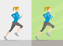 Running girl. Spring trainings. Running girl dressed in spring clothes, on gray background and background with spring seasonal elements. Running at any season Stock Photo