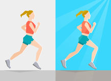 Running girl. Summer trainings. Running girl dressed in summer clothes, on gray background and background with summer seasonal elements. Running at any season Stock Photo