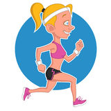 Running girl. Vector illustration. athletic woman Royalty Free Stock Images