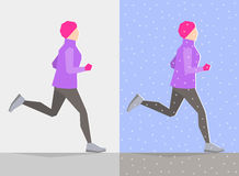 Running girl. Winter trainings. Running girl dressed in winter clothes, on gray background and background with winter seasonal elements. Running at any season Royalty Free Stock Photos