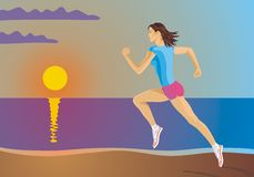 Running girl. Woman during exercise on the beach Royalty Free Stock Photography