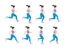 Running girl young female athlete in tracksuit. Vector set of animation frames. Character athlete woman run, illustration of runner cartoon woman Stock Illustration