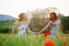 Running girls Royalty Free Stock Image