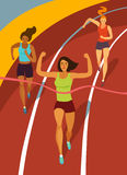 Running girls crossing finish line on stadium. Dynamic running girls crossing finish line on stadium.Competition event. Sport  illustration for your design Stock Photos