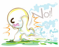 Running and Gone. Cartoon cute acting he gone he trying to running very quickly from some thing will have chaotically  look like Bom in the War and have surround Stock Photos