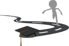 Running for the Graduation Cap - Black Mortarboard Royalty Free Stock Photo
