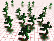Running green figures. A background of running green figures on a red grid Royalty Free Stock Images