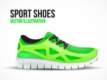 Running green shoes. Bright Sport sneakers symbol. Royalty Free Stock Photo