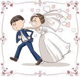 Running Groom Chased by Bride Funny Vector Cartoon. Vector cartoon of a scared groom running away from bride and marriage. File type: vector EPS AI8 compatible Royalty Free Stock Images