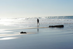 Running on the Guincho beach Royalty Free Stock Photography