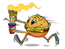 Running hamburger. With fresh drink and fried potato for fast food design Royalty Free Stock Image