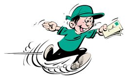 Running happy boy with green hat and t-shirt and blue trousers cartoon character speedy courier. Running happy boy with wide open hands big smile green hat and vector illustration