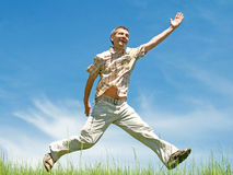 Running happy man Stock Image