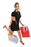 Running happy smiling female shopper Stock Photos