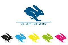 Running hare or rabbit logo template Vector Illustration
