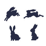 Running hare vector silhouette  on white background Royalty Free Stock Photo