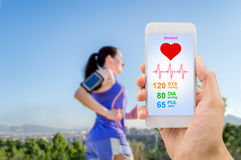 Running with healthcare app Stock Images