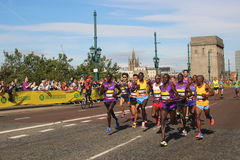 Running healthy exercise sport farah. Olympic champion runner Mo Farah in a crowd of runners taking part in the Great North Run, half marathon, at Newcastle upon Royalty Free Stock Images