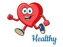 Running healthy red heart character Stock Image