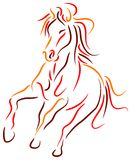 Running horse. Brush stroke line art running horse image Royalty Free Stock Photography
