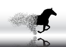 Running horse in the grunge style Stock Photos