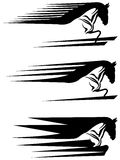 Running horse. Line art running horse black and white design Royalty Free Stock Photography