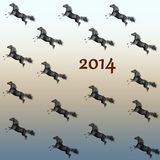 Running horse New Year 2014. Running through the horse next to the figure in 2014 Royalty Free Stock Photo
