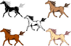 Running horse vector. Set of  vector horses running in colour and monochrome Stock Image