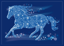 Running Horse. Vector Illustration of a running horse. Happy New Year! Merry Christmas. Symbol of Year 2014 blue horse. It can be used for decorating of royalty free illustration