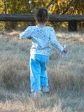 Running with Horses. A toddler running in a field of tall grass while holding some some toy horses stock photos