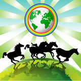 Running horses, Eco Earth Royalty Free Stock Images