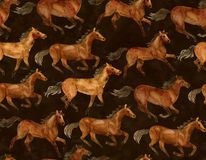 Running horses. On black background. Illustration hand-drawn with watercolor vector illustration
