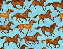 Running horses. On blue background. Illustration hand-drawn with watercolor vector illustration