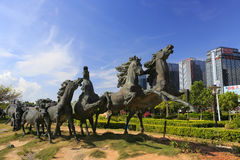 Running horses sculptures in guanyinshan business center Royalty Free Stock Images