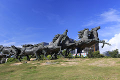 Running horses sculptures Royalty Free Stock Photo