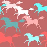 Running horses seamless pattern Stock Photography