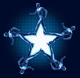 Running human star shape health exercise award. Running humans in the shape of a blank star representing the concept of health and fitness Stock Images